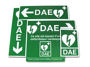 PACK Signalétique DAE 5 panneaux (usage extérieur)